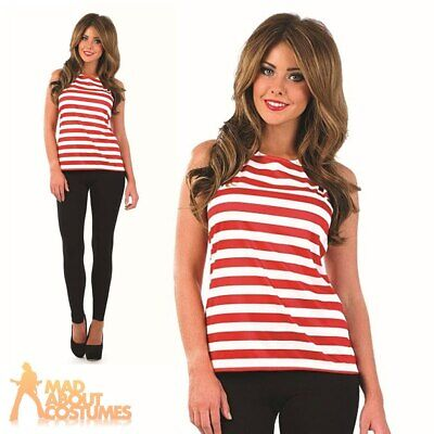 Adult Ladies Red White Striped Top Wally Book Week Day Fancy Dress Outfit New