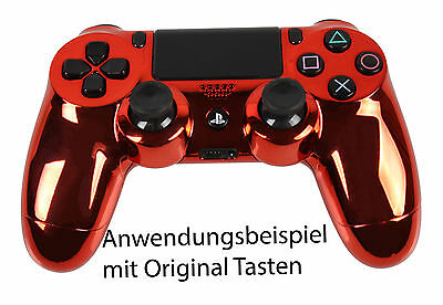 Playstation PS4 Controller Case Hülle Gehäuse Modding Chrome Rot