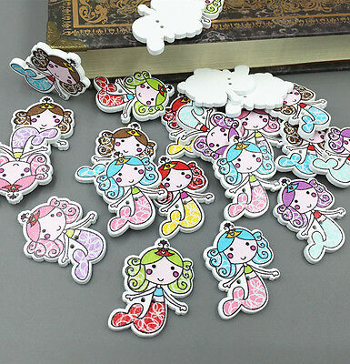 Wooden Sewing Scrapbooking Buttons Mermaid  2 Holes Crafts Decorative 33mm