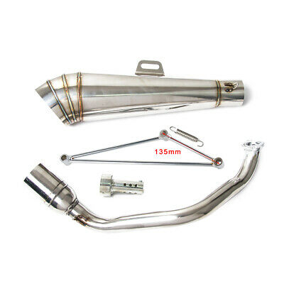Stainless Steel Full Exhaust System Kit Muffler For GY6 125cc 150cc Scooters