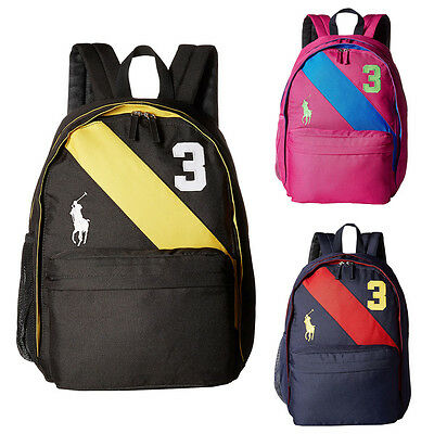 NEW RALPH LAUREN POLO KIDS Large Banner-Striped Backpack
