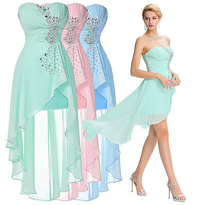 Women Short Long Bridesmaid Formal Evening Cocktail Prom Party Ball Gown Dress