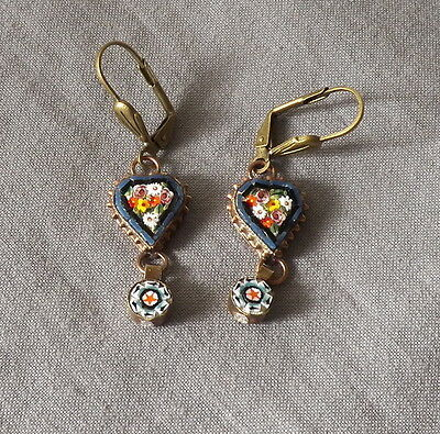 Vintage Victorian Style Floral Heart Drop Dangle Micro Mosaic Pierced Earrings