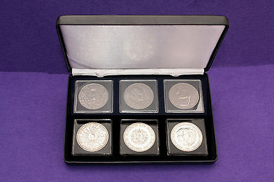 Six Elizabeth II Crown Coins In A leatherette Display Case. Bulk Buy Collection