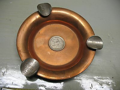 CHILEAN ART SANTIAGO  CHILE  COPPER  ASHTRAY w/ COINS  VINTAGE     HAND MADE