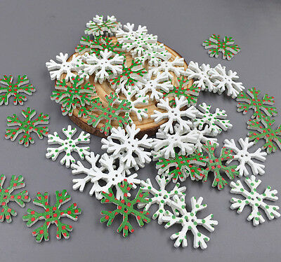 50/100PCS Wooden Christmas Snowflake Buttons Sewing scrapbook Decorative 26mm