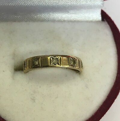 Vintage Solid 9ct Gold Hallmarked Cubic Zirconia Eternity Ring Size I