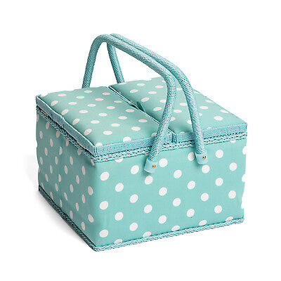 Hobby Gift MRLTLE/193 | Duck Egg Spot Large Twin Lid Sewing Box | 25x25x17cm