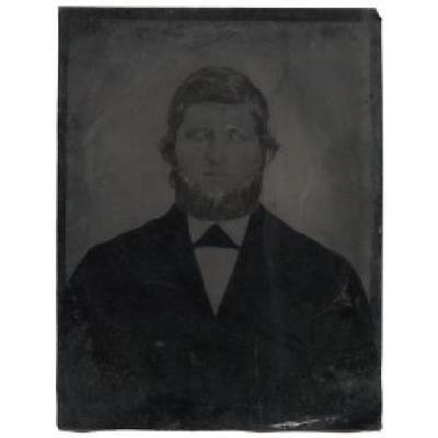 Man with Glasses and Amish Style Beard Full Plate Tintype Photograph Antique Pho