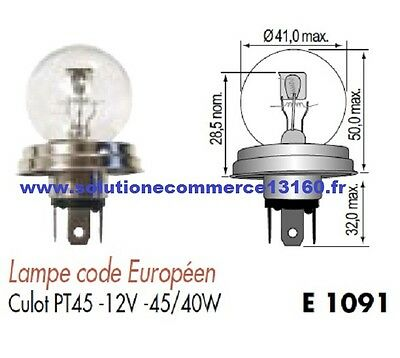 Lot 2 Lampe Ampoule Code Europeen Culot Pt45 12V 12 Volts 45W 40W Blanc Phare