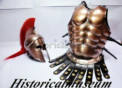 Halloween Costume Copper Antique Finish Greek Muscle Armor S5D With Greek Helmet