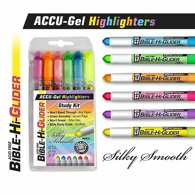 Accu-Gel Highlighters Study Kit Bible Hi-Glider 6 Colors Won't Bleed Through NEW