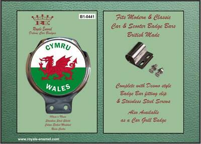 Royale Car Scooter Bar Badge + Fittings - WALES CYMRU WELSH DRAGON B1.0441