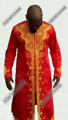 Odeneho Wear Men's Polished Cotton/Gold Embroidery.African Clothing.Top & Bottom