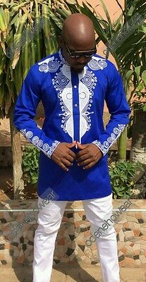 Odeneho Wear Navy Polished Cotton Top /&Bottom// Embroidery.African Clothing.