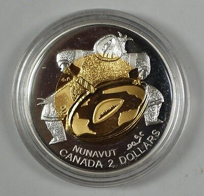 1999 Canada Nunavut Gold Centered Proof $2 Commemorative Toonie In Case W/ COA