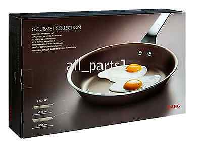 New Genuine Aeg 2 X Non Stick Aluminium Frying Pans - Acc085