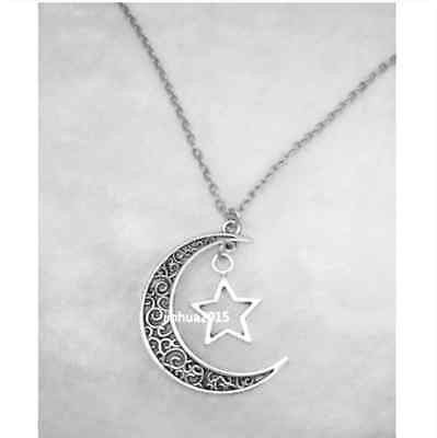2018 Crescent Moon and Star Pendant plating Silver Jewelry Necklace