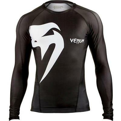 Venum Giant Rashguard Long Sleeve MMA BJJ Brazilian Rash Guard Black NoGi