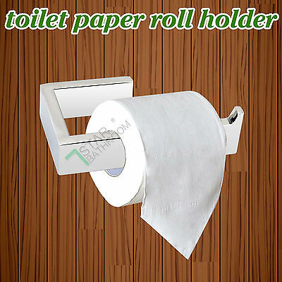 Black Toilet Paper Holder Stainless Steel Roll Bathroom Commercial Square Wall