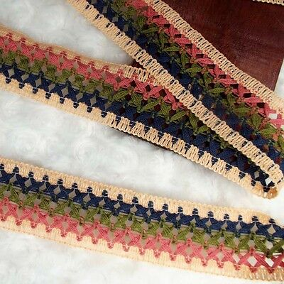 Soft/DIY/Cotton Crochet Border Lace Edging Ribbon 4.5 cm. width,two tone Color