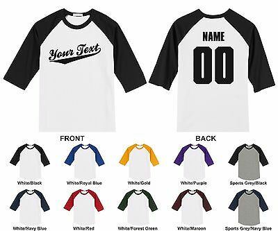 Personalized Custom Your Text Name & Number Adult Raglan T-shirt Baseball Script