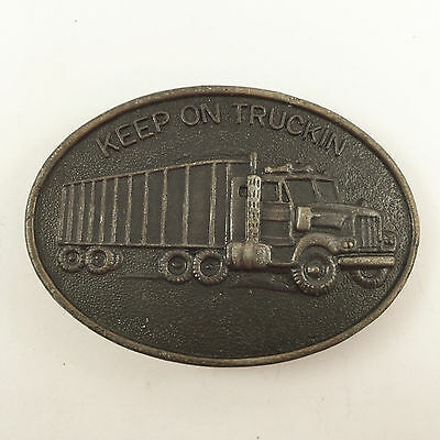 Vintage Keep On Truckin Belt Buckle Dark Brass Metal Truck Trucker Semi