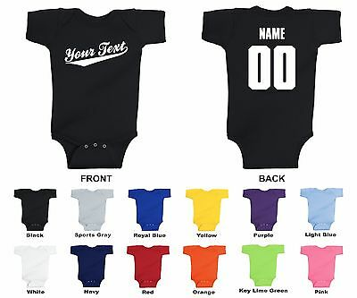 692316b65 Personalized Custom Your Text Name Number Baby One Piece Romper, Baseball  Script