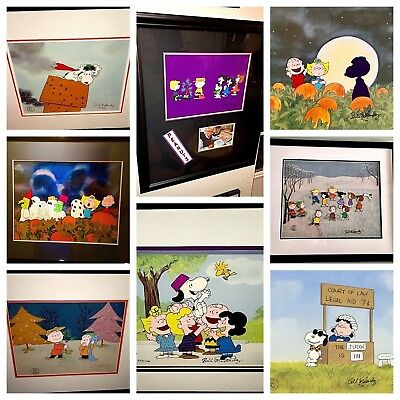 Peanuts 8 Cel Set Charlie Brown Christmas Pumpkin Snoopy Signed Bill Melendez
