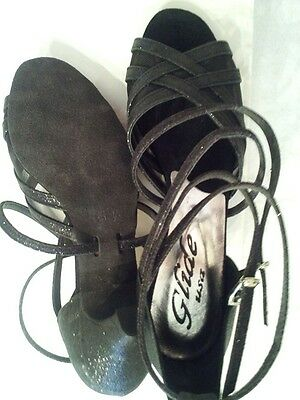 """STRAPPY OPEN TOED BALLROOM SHOE by GLIDE (DIANA 2AS-2"""" HEEL CURVED).  Size 6.5M"""