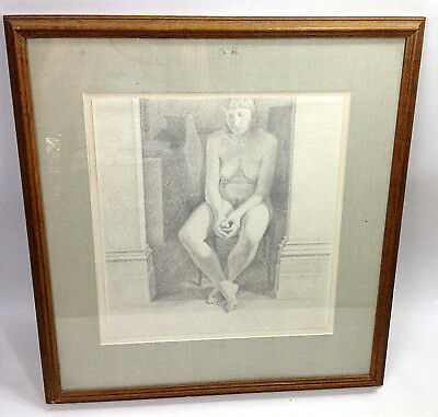 Original Vintage Pencil Drawing by WILLIAM WILKINS NUDE ON A CHAIR London