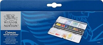 Windsor & Newton cot Man watercolor half pan set 12 color blue  JAPAN F/S J2580