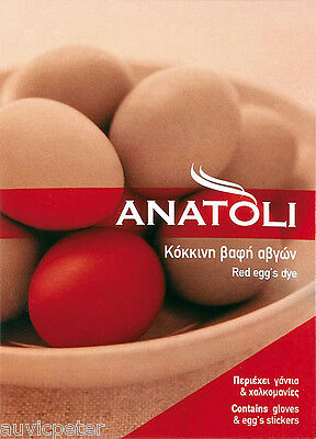 ANATOLI Egg's Dye, Red Egg Colour, Easter Egg Dye with Gloves and Stickers