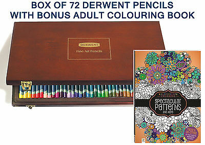 Derwent Wooden Box 72 Artist Pencils with Bonus Adult Therapy Colouring Book 2