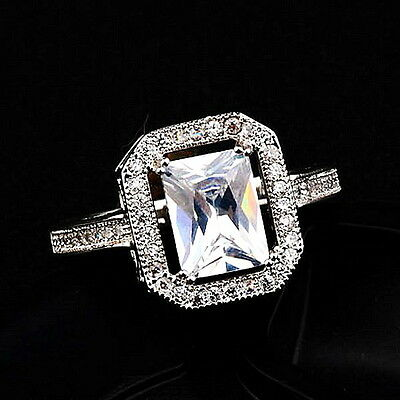 White Gold Plated Made with Swarovski Crystal Women's Engagement Ring R74