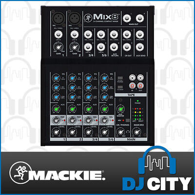 Mix-8 Mackie Compact Portable 8 Channel PA Mixer w/ 2 High Grade Mic Preamps