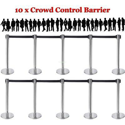 10 x Chrome STAINLESS Retractable Crowd Control Barrier Post QUEUE Black Belts