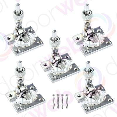 5 PACK SASH WINDOW FASTENER Brighton Lever Lock Twist Catch Wood Frame CHROME