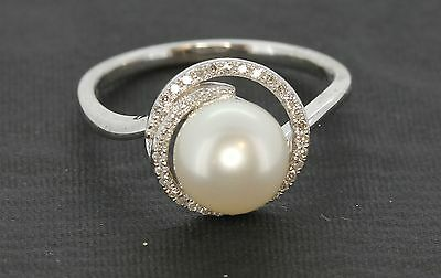 LADIES womens PEARL 9CT carat WHITE gold & DIAMOND engagement RING  Rrp £750.00