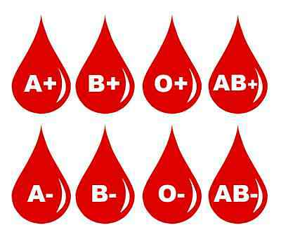 2 x Blood Type and Group for Helmet or Car Vinyl Decal Waterproof PVC Stickers