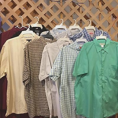WHOLE SALE LOT OF  10  MEN'S SHIRTS SHORT SLEEVE Size XXL- 2XL 18   # WK