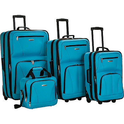 Rockland Luggage Deluxe 4 Piece Luggage Set 7 Colors
