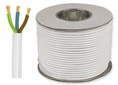 1.5mm 3 Core Flex Cable 50m 3183Y White Lighting Cable 15 Amp Drum/Reel