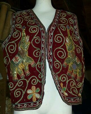 L@@k!!! VINTAGE TURKISH OTTOMAN HAND EMBROIDERED VELVET VEST w/elephant