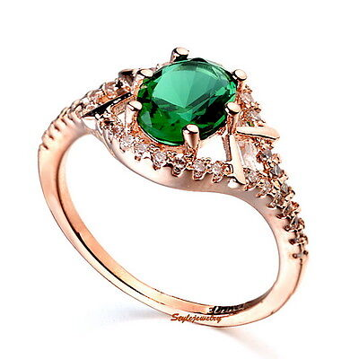 Rose Gold Plated Green Emerald Engagement Ring Made With Swarovski Crystal R76