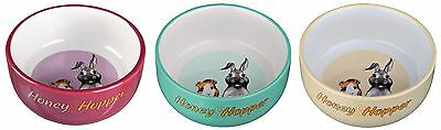 Honey & Hopper Ceramic Bowl for Small Animals Rabbits Guinea Pigs 250ml