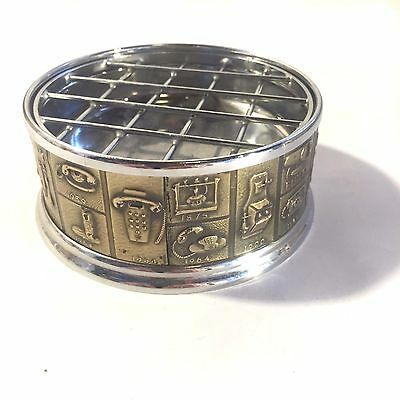 Vtg Leather & Chrome Astray w Telephone Design Through the Years on Side MCM