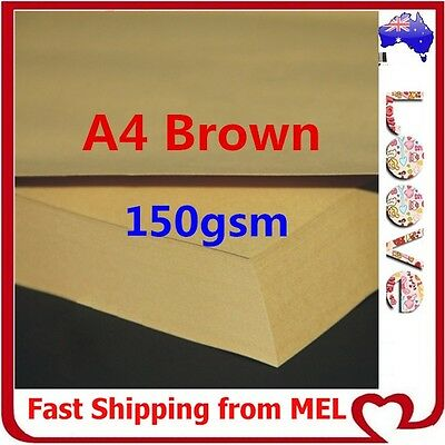 300x A4 150GSM Brown Kraft Paper Sheet Card Natural Recycled Invitation Wedding