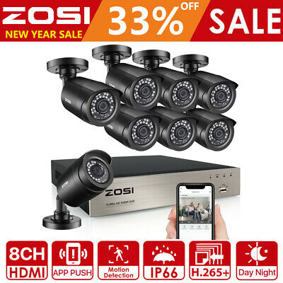 ZOSI 8CH 1080N HDMI TVI DVR 1500TVL CCTV IR-Cut Home Security Camera System