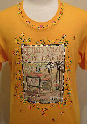 vintage Mary Engelbreit Shirt Large MINT Embellished That's What Friends Are For